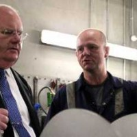Eric Pickles meets an employee at MSE Hiller