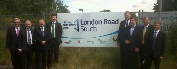 DCLG Minister Kris Hopkins (4th from right) inspects progress at Harlow Enterprise Zone