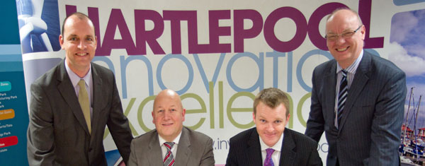 Tees Valley Enterprise Zone welcomes first tenants. From left to right: Stuart Drummond (Hartlepool Mayor), Dave Crone (Managing Director of Omega Plastics), David Forster (Director with Propipe Limited) and Stephen Catchpole (Managing Director of Tees Valley Unlimited)