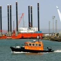 Wind turbine assembly in Port of Lowestoft